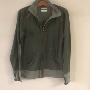 Columbia Zip Front Jacket Army Green & Pink Small